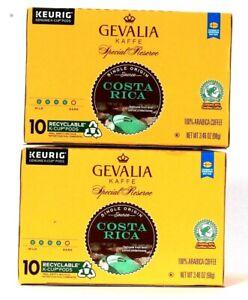 2 Boxes Gevalia Kaffe 3.46 Oz Special Reserve Costa Rica 10 K Cup Pods Coffee