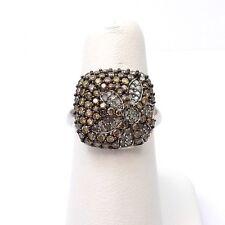 New 10k White Gold 1.5ctw Mocha Diamond Daisy Flower Cocktail Ring Sz 7