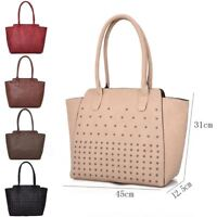 New Women's Designer Style Tote Bag Ladies Studded Shoulder Shopper Bag