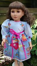 blue dress fits 23 inch My Twinn doll Daisy Kingdom print handmade and new