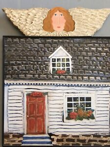 """Large Nancy Thomas Metal Plaque Angel Over House  15"""" x 19"""" 2004 Signed"""