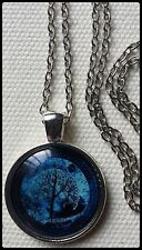 Black Night Tree of Life Turquoise Blue Black Vintage Glass Pendant Necklace