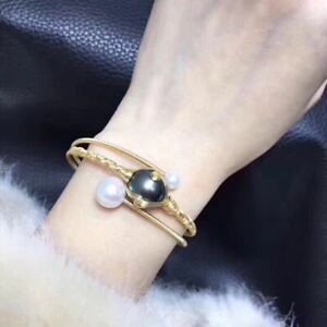 Natural Tahiti Black Pearl 14K Gold Filled Bracelet Hand Knitted Gift 1pc
