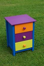 Funky! Three Drawer Pine Bedside Chest Of Drawers Child's Toy Room Storage Chest