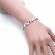 Diamante Leaf Marquise Cubic Zirconia CZ Wedding Brides Bracelet Birthday Gift