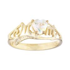 14Kt Gold Natural Mercury Mist Mystic Topaz & Diamond Heart Mom Ring