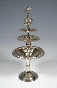 Old Viennese Silver Etagere Antique Vienna Silver Biedermeier Table Rack Um 1849