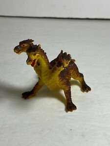 Vintage Yellow Three Headed Dragon Hydra Sun Wai Toys Rubber Figure Hong Kong