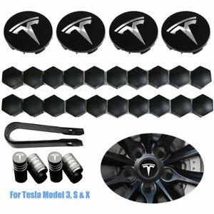 29PCS Tesla Model 3 S X Car Wheel Center Hub Cap Cover and Lug Nut Covers Kit