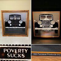 Vintage 1980's FANTASIA PRODUCTS Rolls Royce Poverty Sucks Glitter Lava Lamp