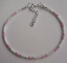 White and Pink glass seed bead anklet ankle bracelet beach boho handmade