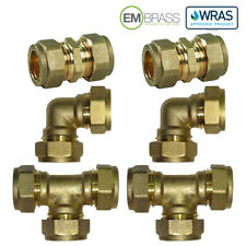Brass Compression Fittings Couplings, Elbows, Tees, 8,10,12,15,22,28mm Sizes WRA