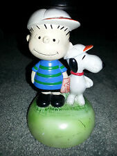 SNOOPY AND LINUS Vintage PEANUTS CERAMIC FIGURINE Antique BASEBALL PALS Schulz