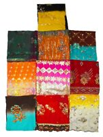 VINTAGE INDIAN WEDDING LOT OF 10 DUPATTA HIJAB SCARF HAND EMBROIDERED VEIL STOL