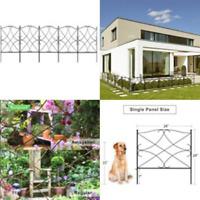 "5 Panel 24""x24"" Iron Garden Yard Fence Panels Dog Border Flowers Plants Fencing"