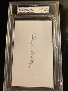 Steve Carlton SIGNED 3x5 Index Card Philadelphia Phillies PSA/DNA AUTOGRAPHED