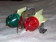Vintage Celluloid Double Light Red Green Bicycle Light, Pedal Car Boat?