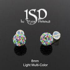 14k Yellow Gold 8mm Light Multi-Color Austrian Crystal Ball Studs Earrings