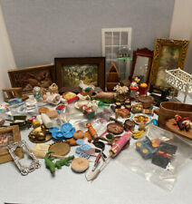 dollhouse miniature vintage various items mostly 1:12 frames mirror dishes etc