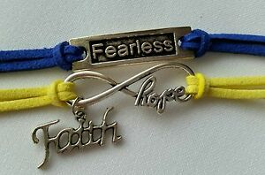 Infinity Hope Fearless Faith Silver Charms Blue Yellow Bracelet Jewelry Us