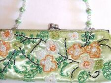 Evening Sequin Floral Beaded Snap Closure Clutch Purse Chartreuse Green