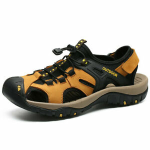New Mens Leather Summer Sandals Walking Hiking Trekking Trail Sandals Shoes