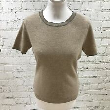 NEW PAUL COSTELLOE Beige Jumper Short Sleeve Pure Cashmere Size UK 10 08194