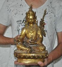 Tibet Buddhism Bronze Gild Guru Rinpoche master Padmasambhava VajraBuddha Statue