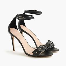 NEW J.CREW LEATHER FLOWER ANKLE-STRAP HIGH-HEEL SANDALS Sz 7 $298