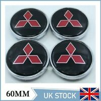 4x Mitsubishi Alloy Wheel Hub Centre Cap Set Center Caps Black Red 60mm