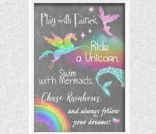 Unicorn rainbow PRINT ONLY a4 Picture wall art girly bedroom personalised