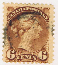 Canada #39(1) 1872 6 cent yellow brown Queen Victoria Used CV$15.00