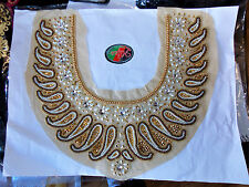 pearl gold crystal sequin collar YOKE chest applique motif moroccan arab asian