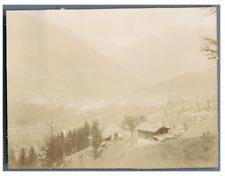 Suisse, Village et Glacier de Fiesch  Vintage citrate print. Tirage citrate