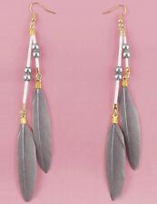 F2023F Gray Feather Earrings Beads Dangle Eardrop Fashion Handmade Jewelry