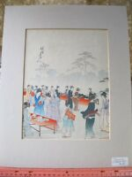 Vintage Print,OUTDOOR MARKET,Matted Japanese on Rice Paper