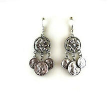 """2.25"""" Long Silver Toned Roman Coin Dangling Earrings"""
