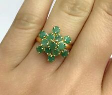 14k Solid Yellow Gold Cluster Ring Natural Emerald Sz 7.75. 2.44 Grams
