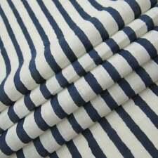Natural Blue Handmade Block Printed 100% Cotton Dressmaking Craft Fabric By Yard