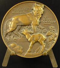 Médaille Fables de La Fontaine Le loup et l'agneau Vernon wolf & Lamb medal
