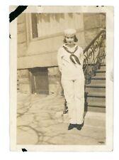 Cute High School Girl Teen Sailor Uniform Navy Chicago Il Vintage Photo