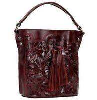 Patricia Nash Octavia Leather Crossbody Bucket Bag Oxblood Tooled