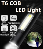 Portable T6 COB LED Flashlight Torch USB Charge Lamp Light Camping Rechargeable