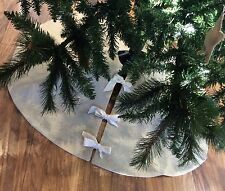 Traditional Hessian Christmas Tree Skirt Decoration Natural Parchment Cream