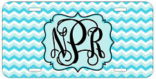 Personalized Monogrammed Chevron Light Blue License Plate Custom Car Tag L465