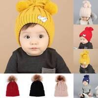 Baby Boy Girl Kids Winter  Warm Hat Fur Pom Bobble Knit Crochet Beanie Cap