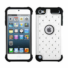 iPod Touch 5th 6th Gen - HARD&SOFT RUBBER HYBRID CASE WHITE BLACK DIAMOND BLING