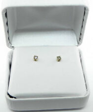 LADIES 14K YELLOW GOLD CHAMPAGNE DIAMOND STUD EARRINGS