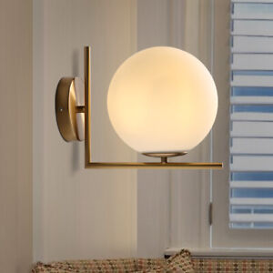 Nordic Style Gold Brass Linear Porch Wall Lights Sconces with White Glass Globe