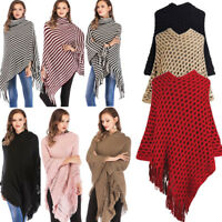 Women Knit Batwing Top Poncho Cape Cardigan Coat Sweater Jacket Outwear Knitwear